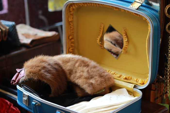 Honey Cat Vintage. Suitcase. Fur. Gloves. 9