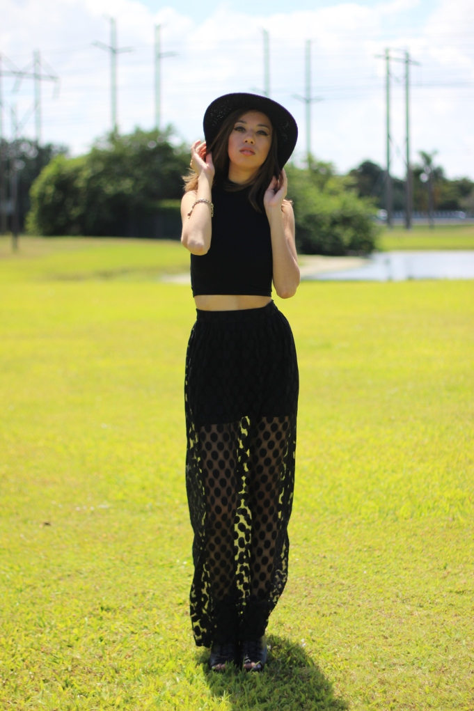 Free People Panama Hat Asos Black Crop Top Forever 21 Sheer Polk-a-dot Maxi Skirt 3