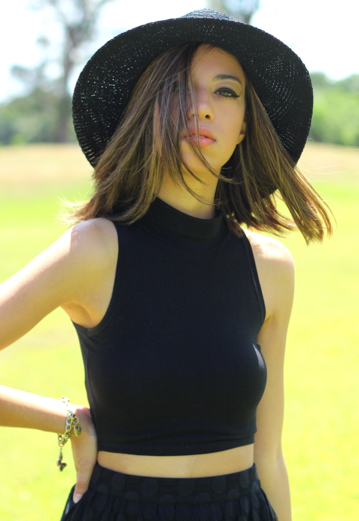 Free People Panama Hat Asos Black Crop Top Forever 21 Sheer Polk-a-dot Maxi Skirt 5