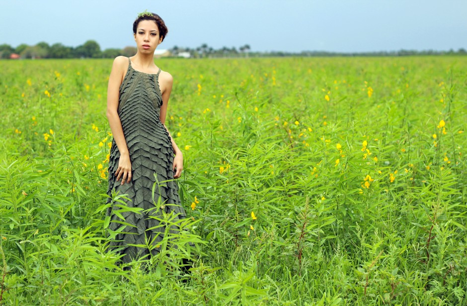 OOTD. Among the Fields of Gold. Free People Safari Green Ruffle Dress. Crown Braid. 5