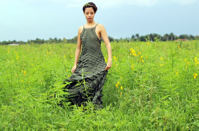 OOTD. Among the Fields of Gold. Free People Safari Green Ruffle Dress. Crown Braid. 6