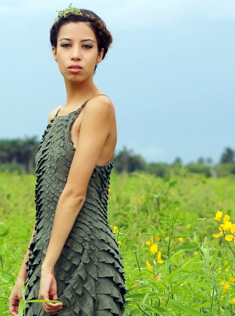 OOTD. Among the Fields of Gold. Free People Safari Green Ruffle Dress. Crown Braid. 7