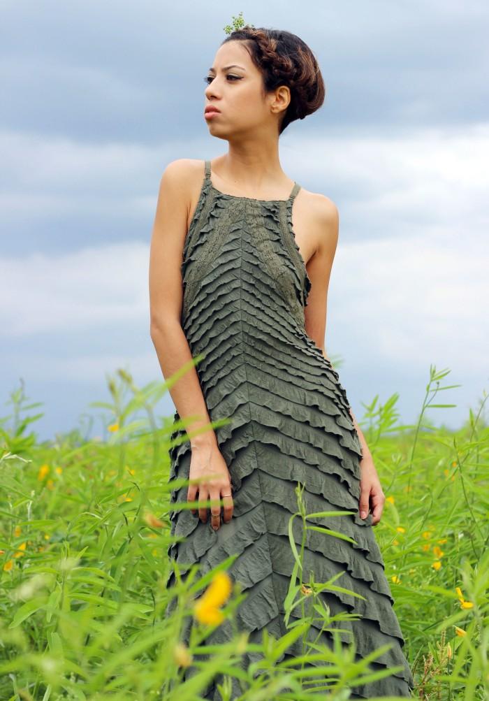 OOTD. Among the Fields of Gold. Free People Safari Green Ruffle Dress. Crown Braid. 8