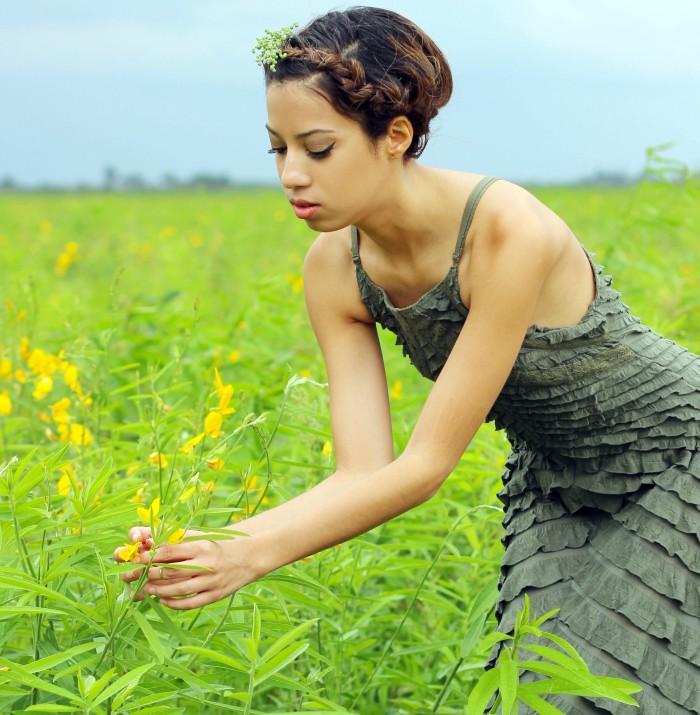 OOTD. Among the Fields of Gold. Free People Safari Green Ruffle Dress. Crown Braid. 9