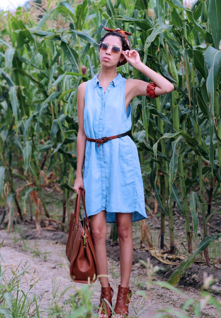 OOTD. Blue Denim Soul. BLUE DENIM DRESS. HM DENIM DRESS. COGNAC HM BAG.4