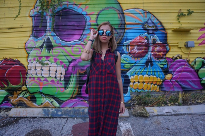 III Points Day 1 Forever 21 Plaid Maxi Dress HM Black Platform Music Festival Outfit 2